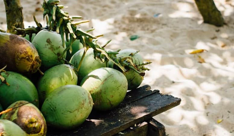 Fresh Coconuts On A Table